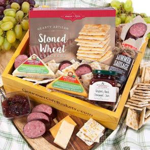 Gourmet Gift Baskets Gourmet Meat & Cheese Sampler - Senior.com Gift Baskets
