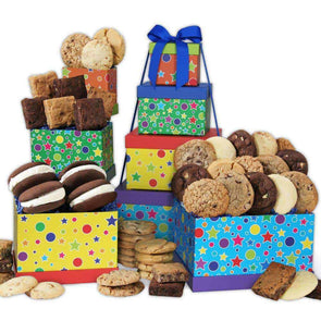 Gourmet Gift Baskets Happy Birthday Baked Goods Tower - Senior.com Gift Baskets