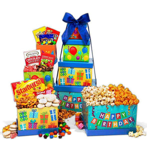 Gourmet Gift Baskets Happy Birthday Gift Tower - Senior.com Gift Baskets
