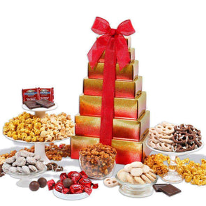 Gourmet Gift Baskets Happy Holidays Gift Tower - Senior.com Gift Baskets