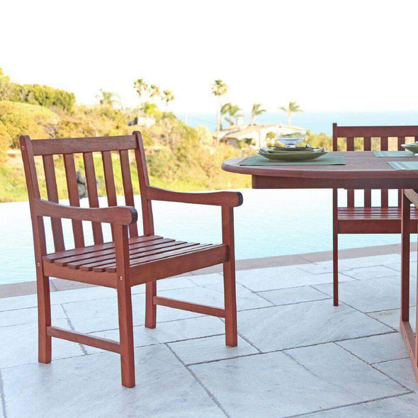 Vifah Malibu Outdoor 7-piece Wood Patio Dining Set with Extension Table - Senior.com Patio Furniture