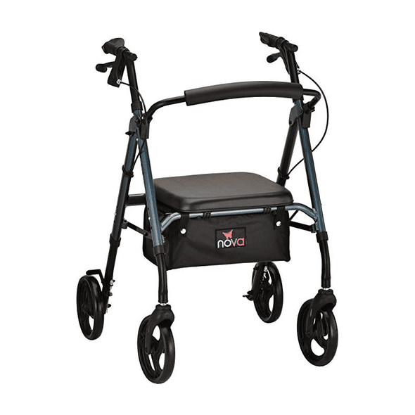 Nova Medical Star 6 Lightweight Rollators with Quick-Fit Push-Button Adjustable Height - Senior.com Rollators