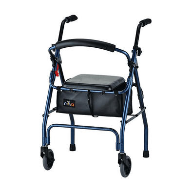 Nova Medical Lightweight Folding Cruiser II Walker Hybrid - Blue - Senior.com walkers