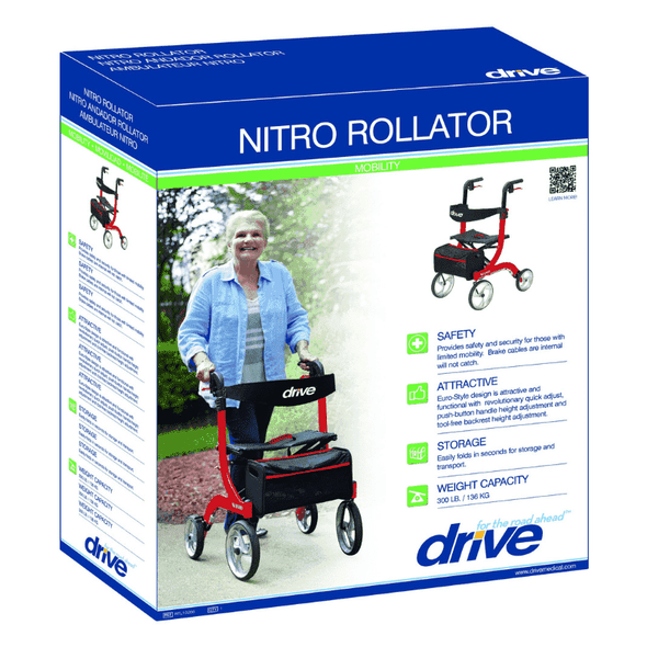 Drive Medical Nitro Euro Style Rollator Rolling Walker Hemi Height - Senior.com Rollators