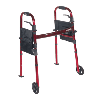 Drive Medical Portable Folding Travel Walker with 5 Wheels and Fold up Legs