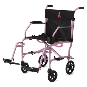 Medline Ultralight Folding Transport Chair - Pink with 19 Inch Seat - Senior.com Transport Chairs
