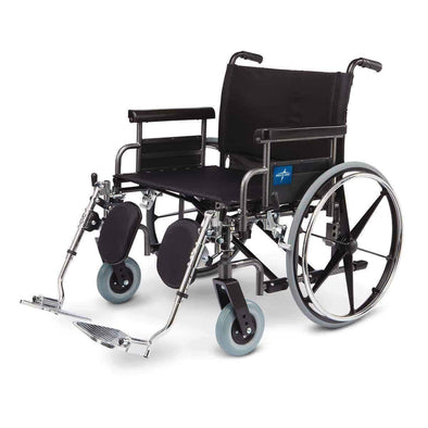 Medline Excel Shuttle Bariatric Extra Wide Transport Wheelchairs - Senior.com Wheelchairs