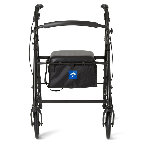 Medline Aluminum Transport Mobility Rollator with 8 Inch Wheels - Senior.com Rollators