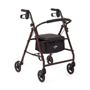 Medline Aluminum Transport Mobility Rollator with 6 Inch Wheels and Seat - Senior.com Rollators