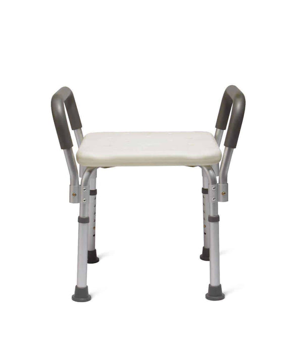 Medline Lightweight Tool-Free Knockdown Bath Benches with Padded Arms - Senior.com Bath Benches & Seats
