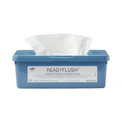 Medline ReadyFlush Biodegradable Flushable Wipes - Tub of 60 Wipes - Senior.com Cleansing Wipes