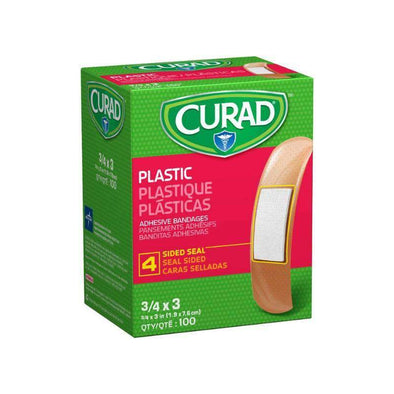 "CURAD Plastic Adhesive Bandages-3/4"" x 3"" box of 100 - Senior.com"