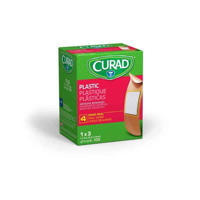 "CURAD Plastic Adhesive Bandages-1""x3"" Box of 100"