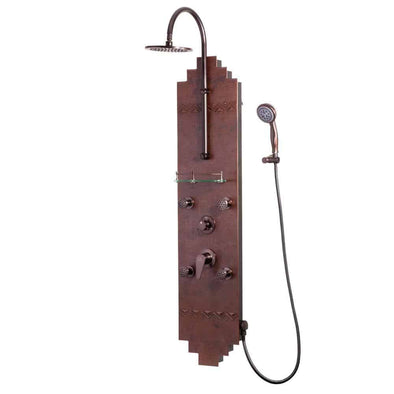 "Pulse ShowerSpas 1018 Navajo ShowerSpa Panel with 8"" Rain Showerhead, 4 Body Spray Jets, 5-Function Hand Shower, Glass Shelf, Hand Hammered Copper with Oil-Rubbed Bronze Finish"