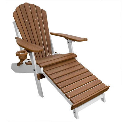 ECCB Outdoor Outer Banks Deluxe Oversized Poly Lumber Folding Adirondack Chair with Integrated Footrest - Senior.com Adirondack Chairs