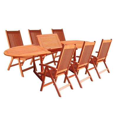 Vifah Malibu Outdoor 7-piece Wood Patio Dining Set with Extension Table and Reclining Folding Chairs - Senior.com Patio Furniture