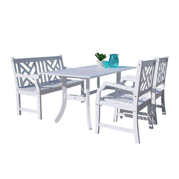 Vifah Bradley Outdoor 4-piece Wood Patio Dining Set with 4-foot Bench in White - Senior.com Patio Furniture