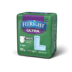 FitRight Ultra Adult Diapers Disposable Incontinence Briefs with Tabs - Heavy Absorbency - Case of 80 - Senior.com Incontinence