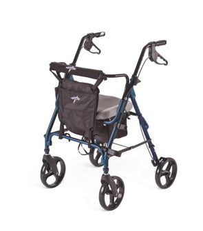 "Medline Deluxe Comfort Folding Rollator Walker with Memory Foam Seat and 8"" Wheels - Senior.com Rollators"