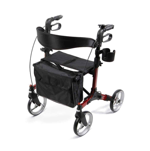 Medline Simplicity Euro Style Folding Rollator Walker - Red - Senior.com Rollators