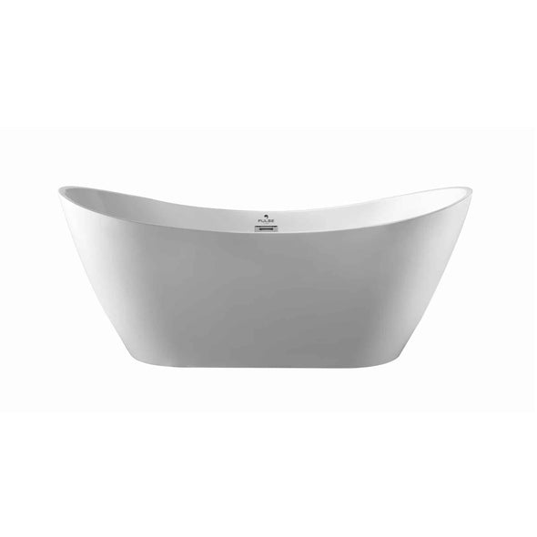 "Pulse ShowerSpas 69"" Acrylic Freestanding Soaking Bathtub with Curved Design - Glossy White"