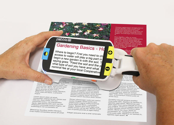 "Enhanced Vision Pebble HD Lightweight Portable Video Magnifier - 4.3"" Viewing Screen - Senior.com Handheld Video Magnifiers"
