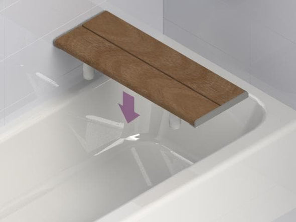 Invisia Luxury Bariatric Bath Bench with Bamboo Seat - Senior.com Bath Benches & Seats