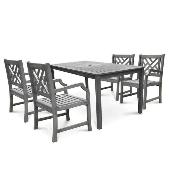 Vifah Renaissance Outdoor 5-piece Hand-scraped Wood Patio Dining Set - Senior.com Patio Furniture