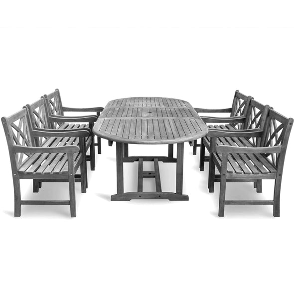 Vifah Renaissance Outdoor 7-piece Hand-scraped Wood Patio Dining Set with Extension Table - Senior.com Patio Furniture