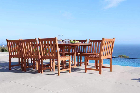 Vifah Malibu Outdoor 9-piece Wood Patio Dining Set with Extension Table & Armless Chair - Senior.com Patio Furniture