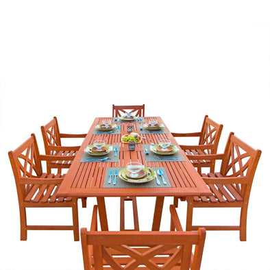 Vifah Malibu Outdoor 7-piece Wood Patio Dining Set with Extension Table