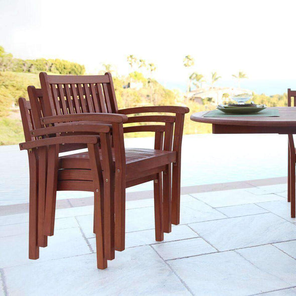 Vifah Malibu Outdoor 9-piece Wood Patio Dining Set with Extension Table & Stacking Chairs - Senior.com Outdoor Dining Sets