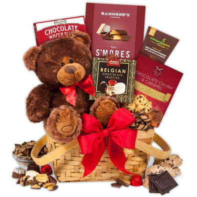 Gourmet Gift Baskets Teddy Bear & Chocolates Gift Basket - Senior.com Gift Baskets