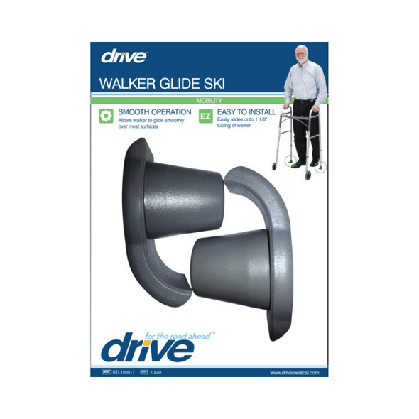"Drive Medical Universal Walker Glide Ski's - Gray 1 Pair - 1 1/8"" - Senior.com Walker Parts & Accessories"