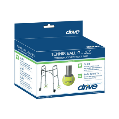 Drive Medical Walker Rear Tennis Ball Glides with Additional Glide Pads - 1 Pair - Senior.com Walker Parts & Accessories