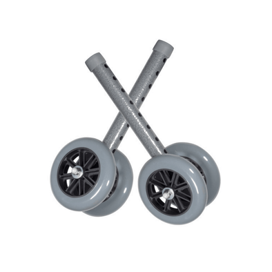 Drive Medical Heavy Duty Bariatric Walker Wheels 5 Inch Catsers - 1 Pair - Senior.com Walker Parts & Accessories