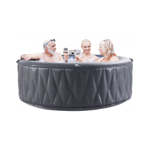 MSPA Premium Mont Blanc Relaxation and Hydrotherapy 118 Air Jet Bubble Spas Epi-Leather Style Round with X Beam Supreme Support