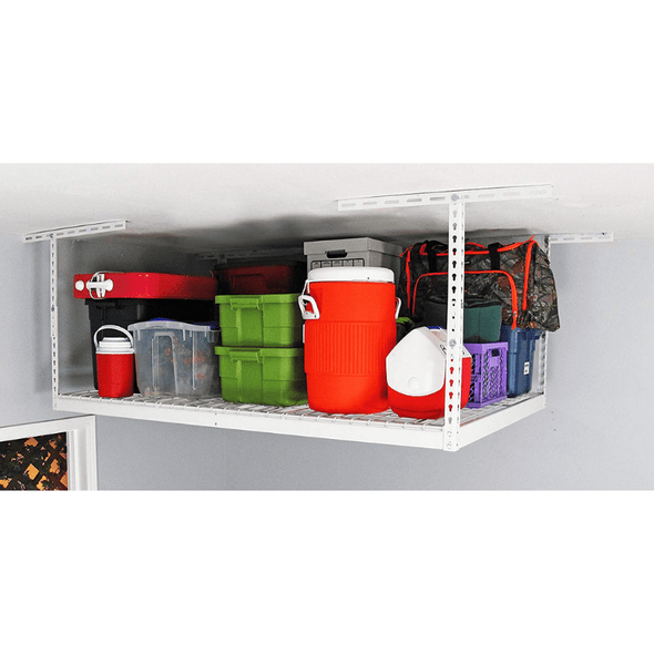 Saferacks 4×8 Overhead Garage Storage Rack White For Home Improvement Factory Second
