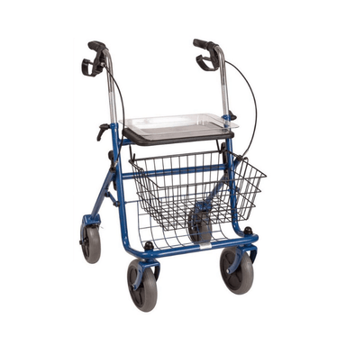 DMI Classic Folding Steel Rollator with Padded Seat, Removable Basket and Storage Tray