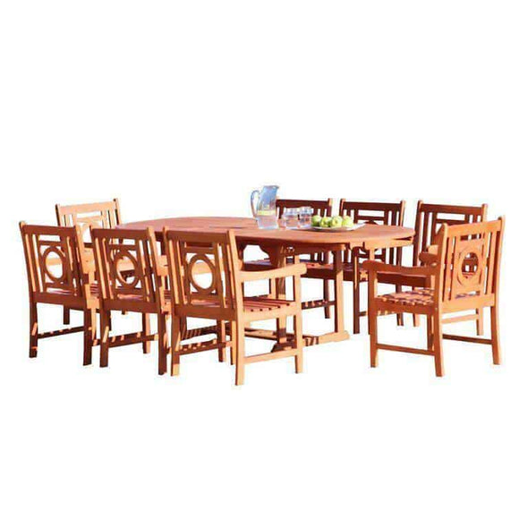 Vifah Malibu Outdoor 9-piece Wood Patio Dining Set with Extension Table - Senior.com Patio Furniture