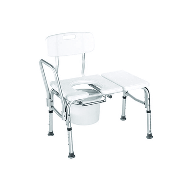 Carex Bathtub Transfer Bench Commode With Opening & Bucket - Senior.com Transfer Equipment