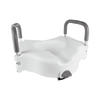 Drive Medical Premium Plastic Raised Toilet Seat with Lock and Padded Armrests Elongated