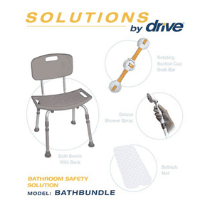 Drive Medical Shower Tub Chair Bathroom Safety Bundle