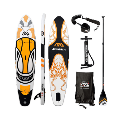 "Aqua Marina Magma  10'10"" Inflatable Stand Up Paddle Board (6"" Thick) with Adjustable Paddle Pump Backpack Center Fin Action Camera Mount kit Valve Adaptor Bundle"