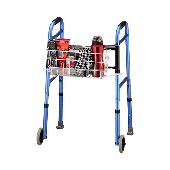 Nova Medical Universal Walker Basket with Insert Tray Cup Holder - Senior.com Walker Parts & Accessories