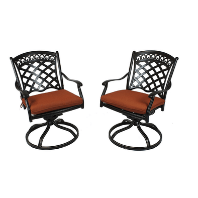 Summerset Casual St. Tropez Swivel Rockers with Terra Cotta Cushions - Set of 2 - Senior.com Patio Furniture
