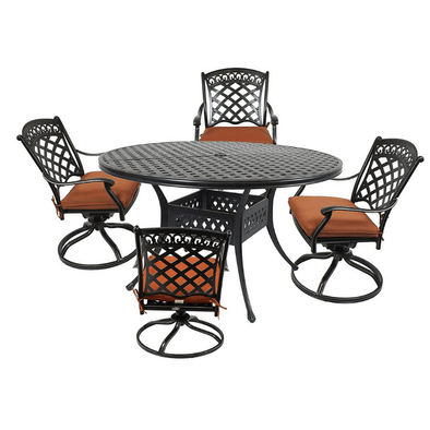 "Summerset Casual St. Tropez 5-Piece Cast Aluminum Dining Set w/ 52"" Round Table & 4 Swivel Rockers"