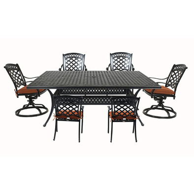 Summerset St. Tropez 7-Piece Cast Aluminum Dining Set with Rectangle Table, 4 Chairs & 2 Swivel Rockers - Senior.com Patio Furniture