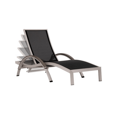 Vivere Urban Curved Sun Loungers in Brushed Aluminum