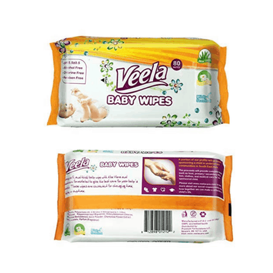 Veela Baby Wipes with Aloe Vera - 80 Per Pack Soft Packs - Senior.com Baby Wipes